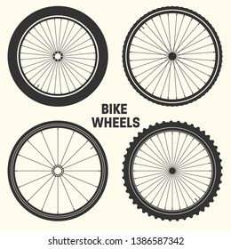 Bicycle wheel symbol vector illustration. Bike rubber mountain tyre, valve. Fitness cycle, mtb, mountainbike.