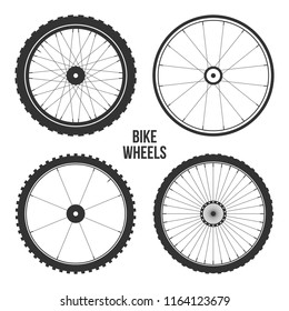Bicycle wheel symbol,vector. Bike rubber. Mountain tyre. Valve. Fitness cycle.MTB. Mountainbike. Set with 4 different wheels.