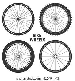 Bicycle wheel symbol,vector. Bike rubber. Mountain tyre. Valve. Fitness cycle.MTB. Mountainbike.Set with 4 different wheels.
