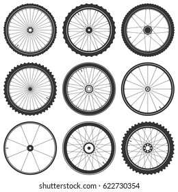 Bicycle wheel symbol,vector. Bike rubber. Mountain tyre. Valve. Fitness cycle.MTB. Mountainbike. Set with 9 wheels.