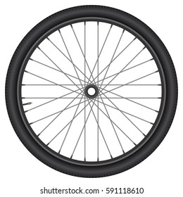bicycle wheel with tire, rim and spokes. isolated vector