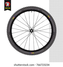 Bicycle wheel. White background. Realistic vector. Mountain wheel