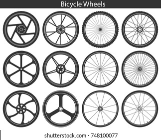 Bicycle Wheels with different tires: mountain, sports, touring, trekking, city and road. Set of black vector illustrations isolated on white. Template for logo or bicycle design concept.