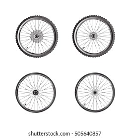 Bicycle wheels. Bicycle parts isolate on white background
