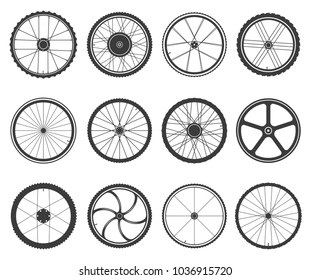 Bicycle wheels set. Circular frame of hard material for vehicle, city, lightweight bike component. Vector flat style cartoon wheels illustration isolated on white background