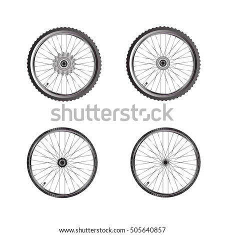 Bicycle Wheels Bicycle Spare Parts Isolated Stock Vector Royalty