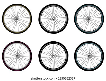 Bicycle wheels. Vector isolated.