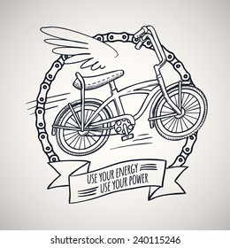bicycle with wings, doodle style vector illustration