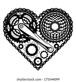 bicycle-parts-combined-in-a-heart-shape