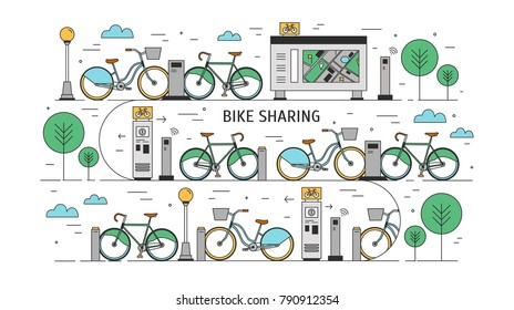 Bicycles available for rent parked at docking stations on city street, payment terminals, map stand and trees. Concept of public bike sharing scheme. Colorful vector illustration in line art style.