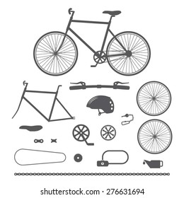 Bicycles, bike accessories icons