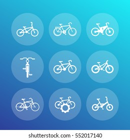 bicycles, cycling, bikes icons set, round transparent pictograms