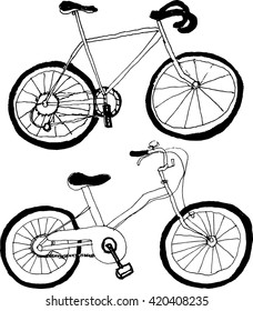bicycles. hand drawn illustrations.