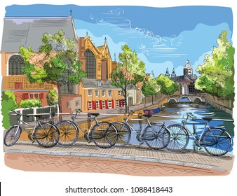 Bicycles on bridge over the canals of Amsterdam, Netherlands. Landmark of Netherlands. Colorful vector hand drawing illustration isolated on white background.