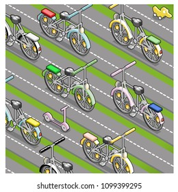 Bicycles riding back and forth on multi-lane street (isometric illustration)
