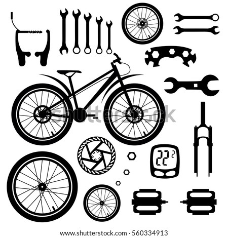 Bicycles Set Bicycle Parts Stock Vector Royalty Free 560334913