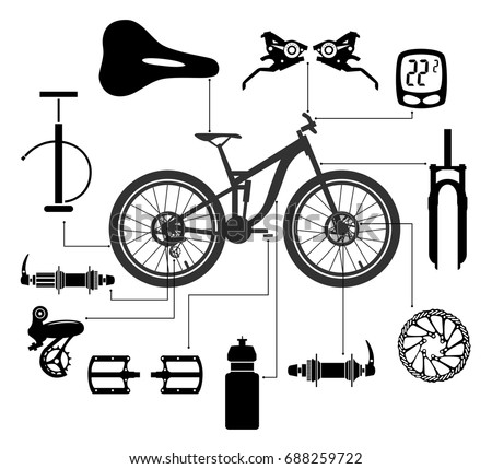 Bicycles Set Bicycle Parts Vector Stock Vector Royalty Free