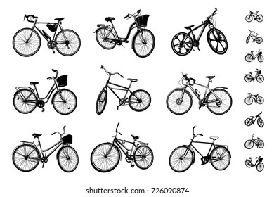 bicycles. set of different vector bicycles and their silhouettes