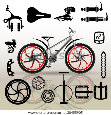 Bicycles Set Isolated Bicycle Parts Vector Stock Vector Royalty