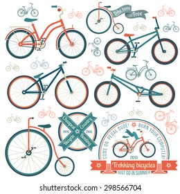 Bicycles of various types - trekking, vintage, street, bmx. Retro logo with a bike.