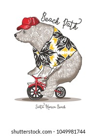 bicycling bear.Santa monica beach.Vector.