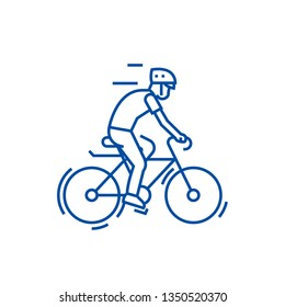 Bicycling,bycicle man line icon concept. Bicycling,bycicle man flat  vector symbol, sign, outline illustration.