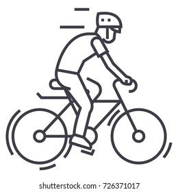 bicycling,bycicle man vector line icon, sign, illustration on background, editable strokes