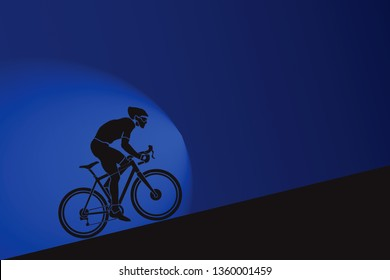 A bicyclist racer pedalling up a gradient. Vector illustration.