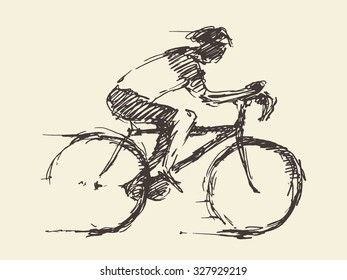 Bicyclist rider man with bike isolated on background, vector illustration, hand drawn, sketch