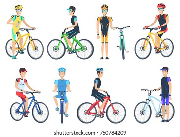 Bicyclist riding on bike, standing near bicyclet, man in helmets and caps set of vector illustrations isolated on white background