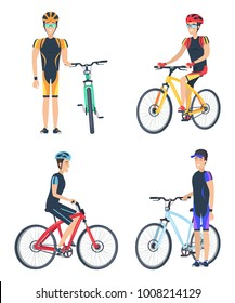 Bicyclist smiling, poster collection with men wearing uniform and riding bikes, happy emotions and motion, vector illustration, isolated on white