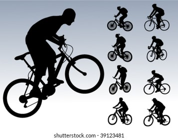bicyclists collection - vector