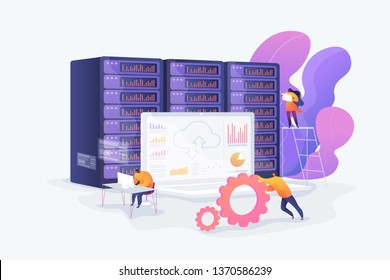 Bid data developer career, big data engineer, data science and jobs concept. Vector isolated concept illustration with tiny people and floral elements. Hero image for website.