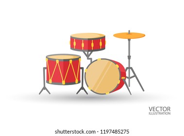 Bid drum set crash base isolated on a white background with the place for text colorful drums flat style vector illustration.