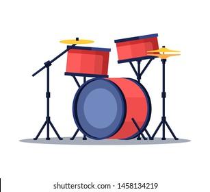 Bid drum set red color crash base isolated on a white background. Flat, retro style on white background.