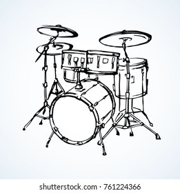 Bid drumset crash base on white backdrop. Freehand line black ink drawn object logo emblem design in artistic vintage cartoon scribble etching style pen on paper with space for text