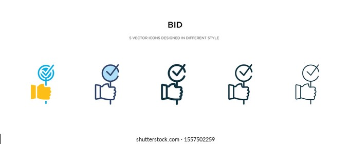 bid icon in different style vector illustration. two colored and black bid vector icons designed in filled, outline, line and stroke style can be used for web, mobile, ui