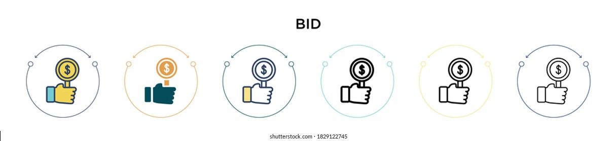 Bid icon in filled, thin line, outline and stroke style. Vector illustration of two colored and black bid vector icons designs can be used for mobile, ui, web