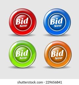 Bid Now Colorful Vector Icon Design