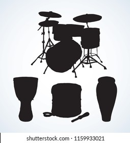 Bid rough pop drumset crash base on white backdrop. Dark black ink drawn national african darbuka reggae tomtom logo pictogram emblem in artistic retro contour engraved print style with space for text