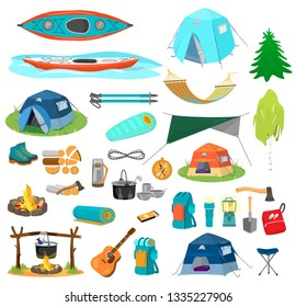 Bid vector set of hiking equipment in flat catroon style. Camping elements. Tents, kayaks, backpacks, camp fire, hammock, rope, boots, sleeping bag, axe, chair, hiking sticks etc.