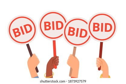 Bidding process. Auction paddles, flat hand holding plates. Finance or business, special offer vector concept