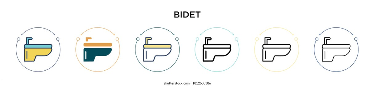 Bidet icon in filled, thin line, outline and stroke style. Vector illustration of two colored and black bidet vector icons designs can be used for mobile, ui, web