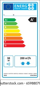 Bidirectional ventilation unit (BVU) new energy rating graph label in vector.