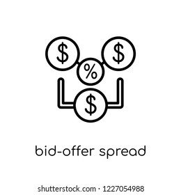 bid-offer spread icon. Trendy modern flat linear vector bid-offer spread icon on white background from thin line Bid offer spread collection, outline vector illustration