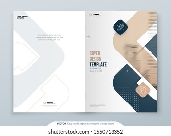 Biege Brochure Design. A4 Cover Template for Brochure, Report, Catalog, Magazine. Brochure Layout with Bright Color Shapes and Abstract Photo on Background. Modern Brochure concept