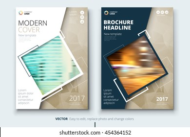 Biege Catalog design. Corporate business template for brochure, report, magazine. Layout with modern square photo and abstract triangle background. Creative poster, flyer or banner concept