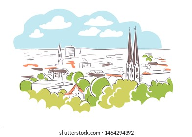 Bielefeld Germany Europe vector sketch city illustration line art
