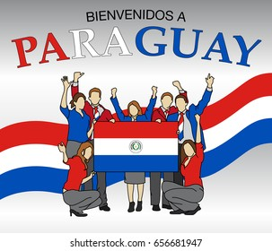Bienvenidos a Paraguay -Welcome to Paraguay in Spanish language- Group of people dressed in the colors of the Paraguay flag, waving with hands and holding the flag - Vector image - A4 size
