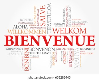Bienvenue (Welcome in French) word cloud in different languages, conceptual background